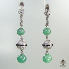 Antique Art Deco Platinum Diamond & Jade Earrings – Rozental Antiques