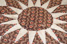 Antique PA Country Star 1890 Madder Calico 14 x 14 Cutter Quilt Block Piece | eBay, dubbie-du