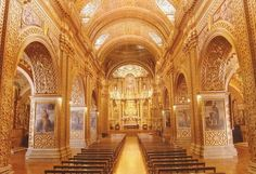Quito, Ecuador – Inca Civilization considered gold to be a symbol of the Sun God, so the interior of Iglesia de la Compañia was covered with almost 2 tons of gold.