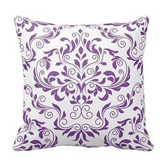 Purple throw pillows are super cute, beautiful and  stylish. Use on beds and couches to  create a calm and relaxing vibe especially in your living room or bedroom. Indeed, Purple accent pillows along with  other purple home décor accents make for beautiful purple home decorated room  or home.      Purple and White Floral Pattern Throw Pillow Case Covers Flower Design Home Sofa Decorative Square 18x18 Two Sides