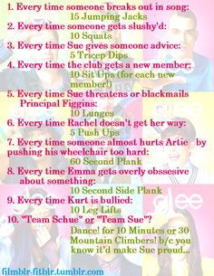 I've been looking for a Glee workout!