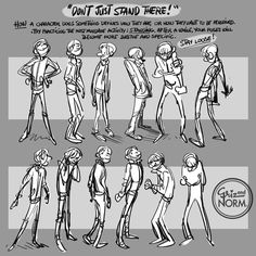 "Tuesday Tips - ""Don't just stand there!""  A surprisingly simple yet challenging exercise. Try to draw as many standing poses of a simple character. Try not using props or things to lean on. It will make the exercise more fulfilling. Go through your..."