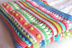 As-we-go stripey crochet blanket. Can be made in any size. Begch in multiples of 24.