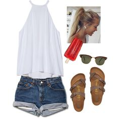 It's like such a chill day by annagabriel on Polyvore featuring A.L.C., Birkenstock and Rayban