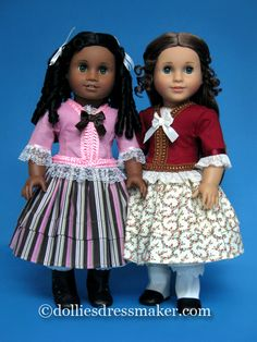 American Girl dolls Marie-Grace and Cécile wear two-piece outfits from The Dollies' Dressmaker.
