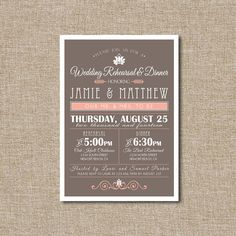 Hey, I found this really awesome Etsy listing at http://www.etsy.com/listing/151942981/wedding-rehearsal-dinner-invitation