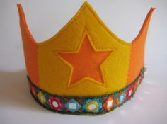 Waldorf style Wool Felt Crown with Star, Orange and Golden Yellow Birthday Crown. $19.00, via Etsy.