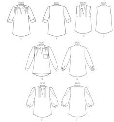 Butterick 5997: I like the shoulder gathers, sleeves, and the collar stand on view D.