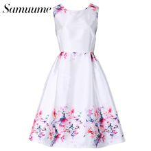 Samuume elegante estampa floral bordado tanque dress mulheres 2017 o-pescoço sem mangas plissadas cintura alta midi dress vestidos a1611033(China (Mainland))