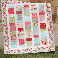 Baby Girl Quilt Ruby Red Pink Aqua Blanket Nursery Crib Bedding. $159.00, via Etsy.