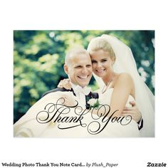 "Wedding Photo Thank You Note Cards | Postcard Classic wedding thank you post card template features a photo on the front and back, ""Thank You"" in an elegant black script font, and custom text thank you message that can be personalized. White background on the back of the card can be customized to another color via Customize it / Edit / Background. *Photo tip: to ensure your uploaded photos are centered, crop them in advance of uploading. Use a 4.25"" x 5.6"" size for the front photo, and a…"