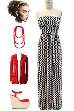 Vintage Inspired Black & White Chevron Stripe Print Strapless Maxi Sun Dress