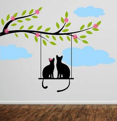 VInyl wall decal Bracnch with swinging cats by itswritteninvinyl, $65.00