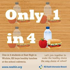 One in 4 students at East High School in Wichita, KS buys healthy lunches at the school cafeteria!