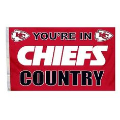 """This officially licensed Chiefs flag is made of durable 100% polyester and is designed with 2 heavy-duty metal grommets so it is easy to hang and fly. These high-quality banner flags read """"Your in Kan"""