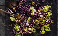 Red cabbage, sprout, celeriac and chestnut salad
