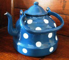 Vintage Blue Enamelware Polka Dot Tea Kettle Teapot by WhimsyHouse