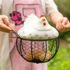 [New] The 10 Best Home Decor (with Pictures) - Ceramic Hen Egg storage Basket . Material :Ceramic Dimension : Hen top : 22 cm D x 10 cm H Wire Basket : 19 cm D x 12 cm H . Egg Storage, Storage Baskets, Country Themed Parties, Kitchen Baskets, Vegetable Basket, Chicken Crafts, Hand Painted Ceramics, Ceramic Painting, Decor Interior Design