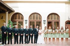 Pale Pink and Mint Green - navy blue suits
