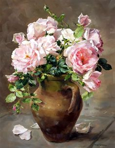 Lush pink roses arranged in a terracotta pot. An Anne Cotterill oil painting reproduced into a high quality giclée print om canvas.  #FlowerArt