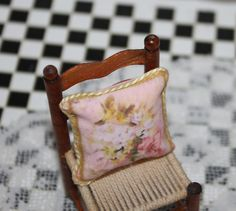 Miniature cushion made by transferring image to printable cotton http://stores.ebay.com/happyharvesterminiatures