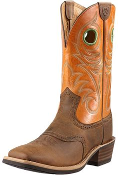 Ariat Mens Heritage Roughstock Cowboy Boots - Distressed Brown/Sunny Side $189.95