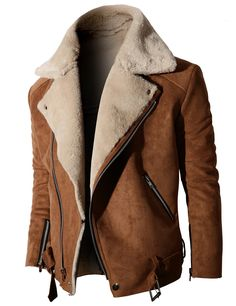 #mens fashion #mens style Mens jacket Neck Suede Jacket With Zipper Point Sleeves (KMOCO014:DOUBLJU)