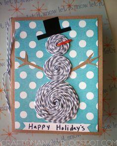 Snowman Christmas Card w/ Bakers Twine Dekorella Shop http://dekorellashop.hu/ #pékzsineg #bakerstwine