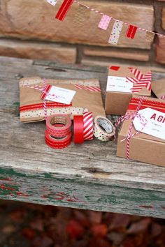 Washi Tape Gift Wrap Ideas + Printable Gift Tags Christmas wrapping - My have already pinned this - love the tiny banners made of washi tape. Garland for one of the small trees? Present Wrapping, Creative Gift Wrapping, Wrapping Ideas, Paper Wrapping, Christmas Time, Christmas Crafts, Christmas Decorations, Christmas Labels, Christmas Fashion