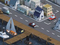 Low poly port (animation) by Mohamed Chahin