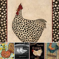 'Spotted Chicken' poster by Warren Kimble… Chicken Painting, Chicken Art, Chicken Quilt, Rooster Art, Art Populaire, Chickens And Roosters, Naive Art, Bird Art, Folk Art