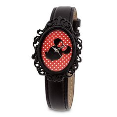 Highlight your style with our nostalgic watch featuring Minnie's silhouetted portrait in a filigreed cameo frame. This timely souvenir of Main Street U.S.A. allows you to turn back time to the lazy hours of yesteryear.