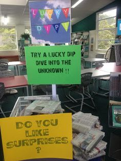 Library Displays: Lucky Dip.  Wrap books in newspaper and let people try their luck with a book.