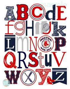 Boston Red Sox inspired Baseball Alphabet Art Print
