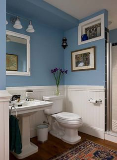 Milton Development Master Bathroom With Blue Paint Color With Gorgeous Bathroom Crown Molding Decorating Inspiration