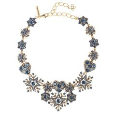 Oscar de la Renta Navy Swarovski Crystal Pavé Hearts & Stars Necklace ($380) ❤ liked on Polyvore featuring jewelry, necklaces, navy blue necklace, navy necklace, long statement necklace, pave necklace and pave heart necklace