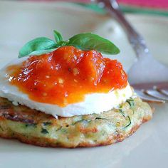 Zucchini Fritters w/Mozzarella & Stewed Grape Tomatoes -- from savoring time in the kitchen