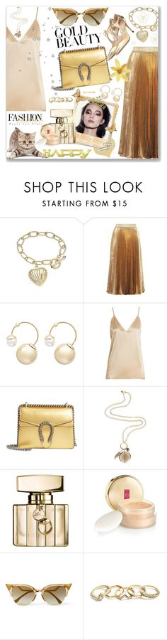 """#32 Golden Girls - Gold Beauty: 27/11/17"" by marika-jane ❤ liked on Polyvore featuring Christopher Kane, Witchery, Raey, Gucci, Monica Vinader, Polaroid, Elizabeth Arden, Fendi, GUESS and Jimmy Choo"