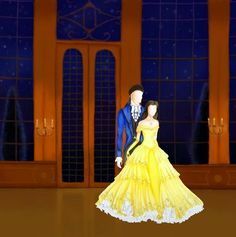 Beauty and the beast inspered fashion illustration