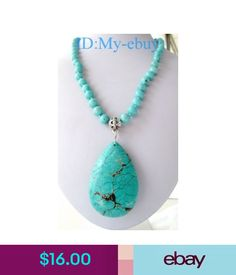 "Necklaces & Pendants Round Light Blue&Big Drip Turquoise Pendant Necklace 19"" #ebay #Fashion"