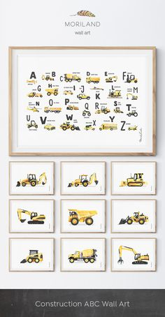 Digger Print, Construction Art Print, Toddler Boys Room Decor, Truck Print, Boys Wall Art, Transportation Wall Art, Birthday Printable, Instant Download, Watercolor, Yellow, Wall Decor, Ideas, Bedroom, Playroom Vehicles, Printable, Birthday Party Decorations, Edible Paper for Cake, DIY, Signs. By MORILAND Wall Art