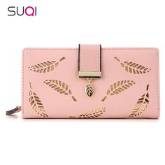SUQI Women Wallet Female Long Wallet Gold Hollow Leaves Pouch Wallet For Women #BlackFriday is coming early #BestPrice #CyberMonday