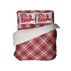 Kids Preppy Red Surfer Plaid Comforter Set from Kids Bedding Company Toddler Comforter Sets, Queen Size Comforter Sets, King Size Comforters, Kids Bedding Sets, Plaid Comforter, Preppy Bedding, Dorm Room Comforters, Plaid Curtains, Duvet Cover Sets