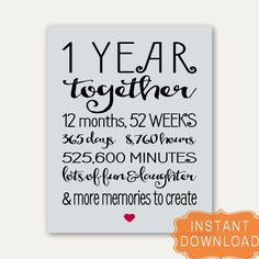 1 Year Anniversary Sign Annviersary Cute Gift for Boyfriend Card Poster… Anniversary Quotes For Boyfriend, Happy One Year Anniversary, Anniversary Cards For Husband, Anniversary Message, 1st Anniversary Gifts, 1st Anniversary Quotes, Marriage Anniversary, Cute Boyfriend Gifts, Gifts For Your Boyfriend