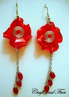 Creative recycling pet: tutorial earrings made ​​from a red plastic bottle
