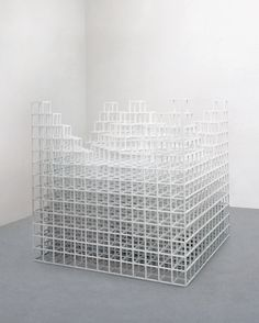 Sol LeWitt; 13/1 1980 Wood and white paint 157.5 x 157.5 x 157.5 cm    62 x 62 x 62""