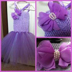 Grape & lavender tutu with matching headband.  Please visit my page on Facebook @ www.facebook.com/aprilshowersboutique6