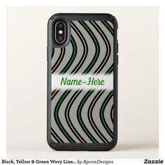 Black, Yellow & Green Wavy Lines Pattern + Name Cool Phone Cases, Iphone Case Covers, Line Patterns, Pattern Names, Iphone 11, Abstract, Yellow, Green, Black