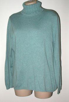 TALBOTS Cotton Knit Turtleneck Tunic Length Sweater - Light Teal XL #Talbots #TurtleneckMock