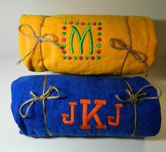Set of Two Bright Colorful Beach Towels by personalthreads on Etsy, $42.00